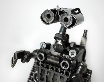 Recycled Metal Little Bot Sculpture by Kreatworks / metal sculpture, robot, scrap metal sculpture, steampunk, dieselpunk, metal figurine