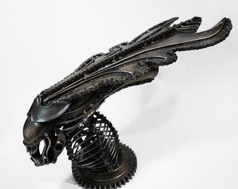 Recycled Metal Queen Monster head --- Steampunk Dieselpunk Cyberpunk Craft Handmade