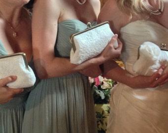 Lace Bridal Clutch, Ivory Bridal Clutch, Chocolate Clutch, Navy wedding purse, Silver bag, Black evening purse {Chantilly Lace Kisslock}