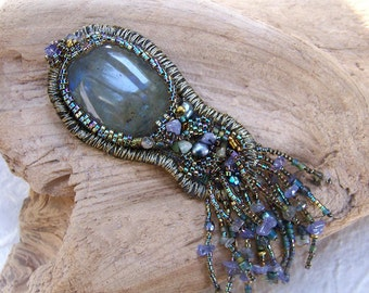 Labradorite Brooch with Fringe