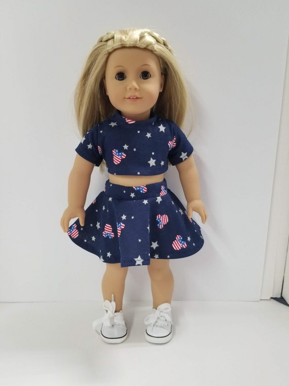 """Jean Jacket fits 18/"""" American Girl Doll Clothes Patriotic Skirt Set-Top Skirt"""
