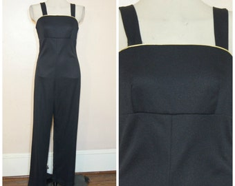 70s Black and Gold Jumpsuit Medium Catsuit Sleeveless Disco Party Wide Leg