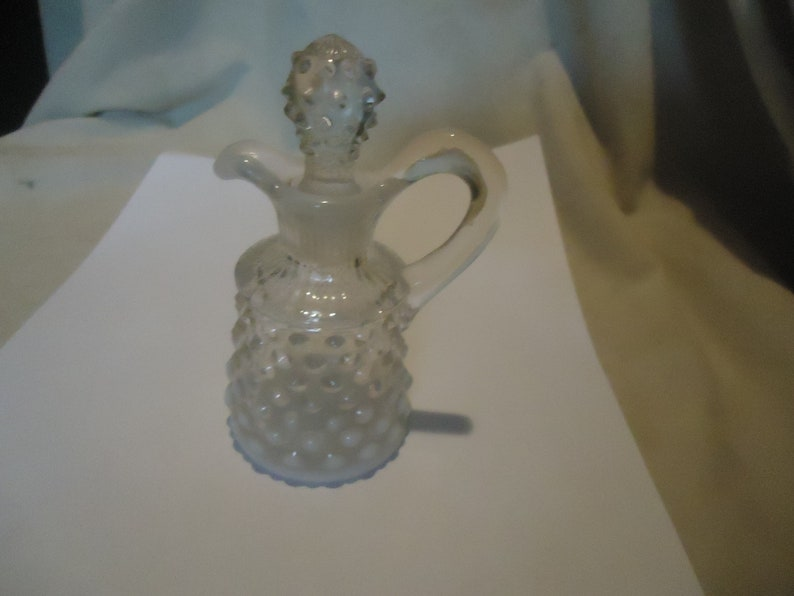 7237b56c29e2 Vintage Fenton Glass Hobnail French Opalescent Oil or Vinegar Cruet With  Stopper, collectable