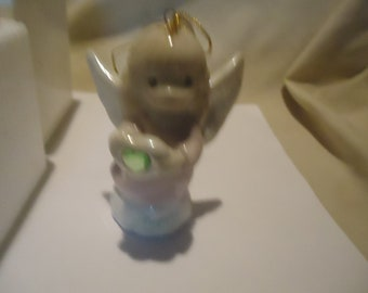 Vintage 1997 Precious Moments August Simulated Peridot Birthstone Angel Ornament With Box by Enesco Avon, collectable