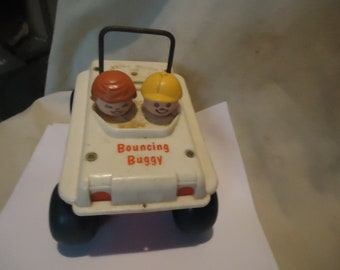 Vintage Fisher Price Bouncing Buggy Pull Toy With No String, collectable