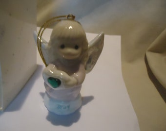 Vintage 1997 Precious Moments May Simulated Emerald Birthstone Angel Ornament With Box by Enesco Avon, collectable