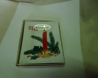 Vintage Glass Noel Christmas Ashtray With Box, collectable