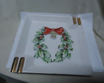 Vintage Lefton Ashtray With Wreath on It, Holiday, Japan, Christmas