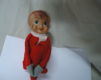 Vintage Pixie Elf With Rubber Head Sitting Down, Japan collectable