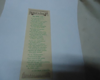 Vintage God Is Love My Bible and I Bookmark by Superior Printing, Call 9-1403, collectable, usable