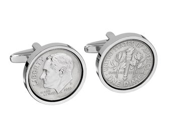 Gift Boxed 50th Birthday 1970 Anniversary American Dime Coin Cufflinks