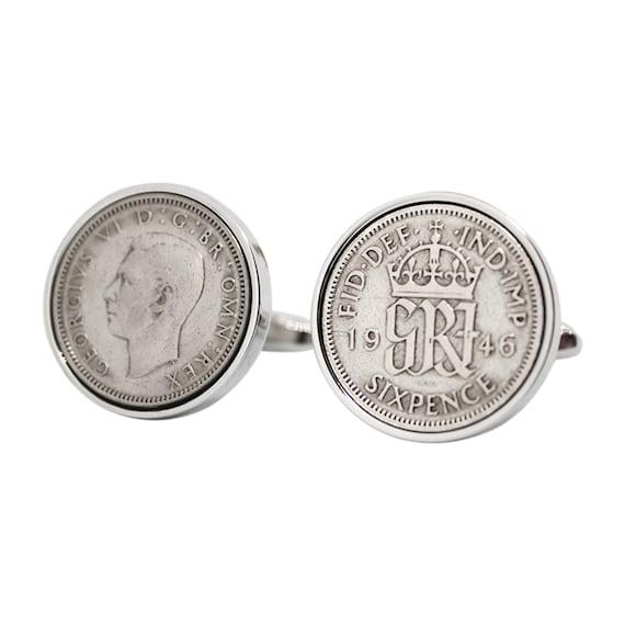 Handmade Cufflinks-1948 British sixpence coin-Birthday-Anniversary-Gift boxed