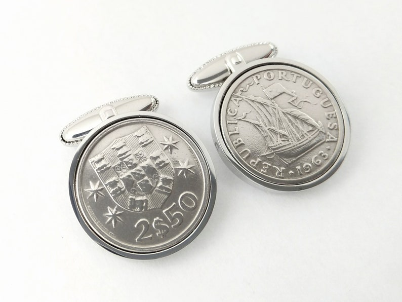Portuguese Coin Cufflinks - Wedding Gift for men Anniversary Gift for  husband Birthday Gift for Dad handmade Portugal crest ship cuff links