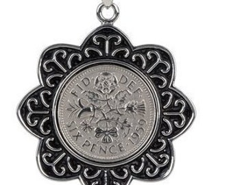 65th Birthday Gift - 1953 English Coin Pendant - Includes Chain - Genuine English 1953 sixpence.