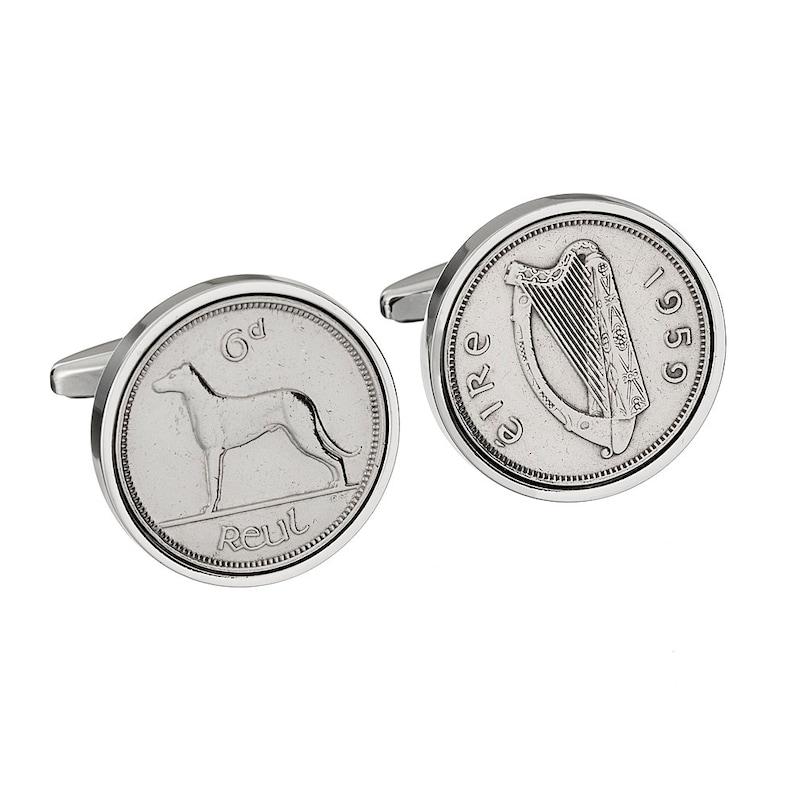 60th Birthday Cufflinks 3 day shipping option 1959 Luck Irish Cufflinks Genuine 1959 Irish Sixpence Coin
