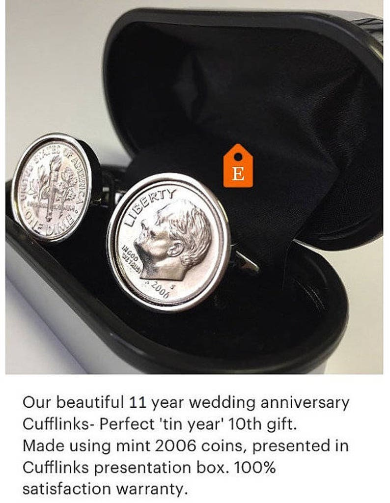 3 day delivery option 2009 American Dime coin cufflinks Perfect 10th Anniversary Gift gift for men Gift for Husband Tin Anniversary