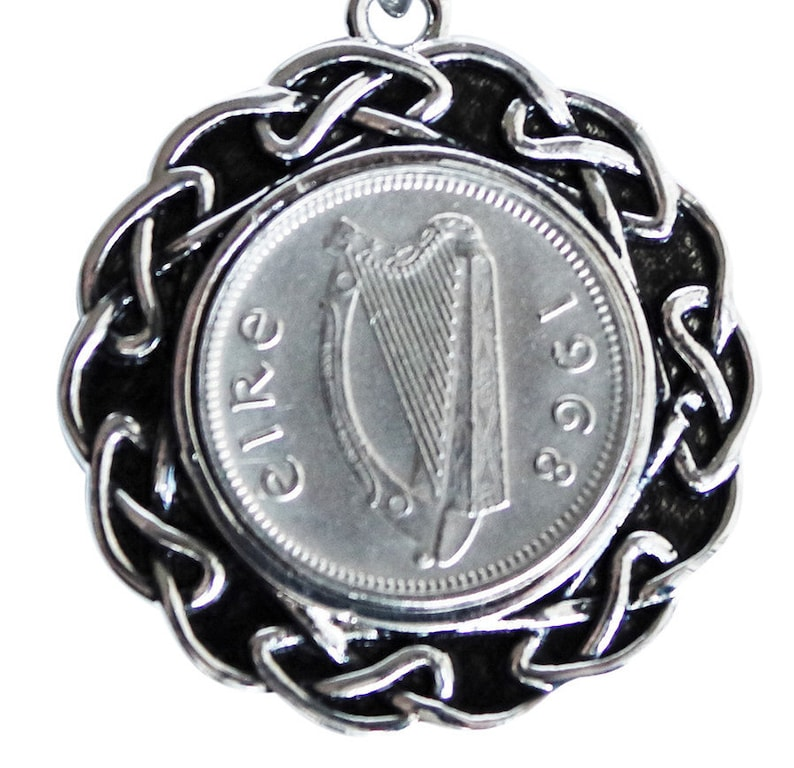 Birthday Gifts for Women Lucky Gifts 53rd Birthday Gift for Woman 1968 Irish Threepenny Pendant Celtic Gifts for Women Irish Harp Coin