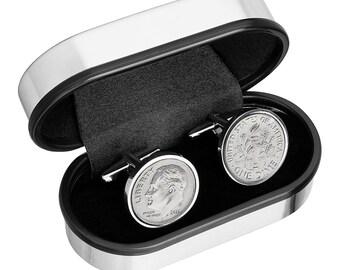 Aluminum Anniversary Gift - Tin Year- Gift, 2011 Cufflinks, Tin Anniversary Gift, 10 Year Anniversary, Dime Coin Cufflinks, 10th Anniversary