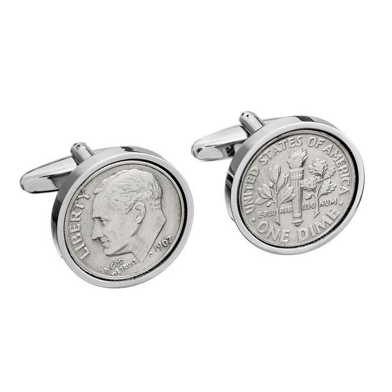 1967 American Dime coin cufflinks Perfect 52nd Birthday present gift for men Gift for father genuine 1967 handmade coin cuff links