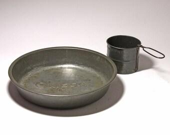 Vintage Large Deep Dish Pie Pan, Omega Flour Pie Pan - circa 1940's