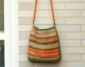 Stripped crochet messenger, big summer bag, crochet tote, natural shades bag, big messenger, green stripes, green and orange, striped bag