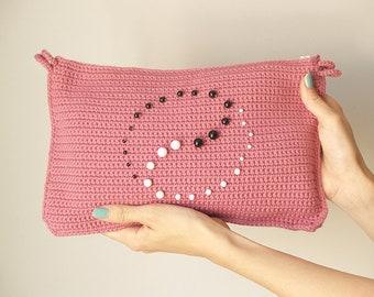 pink medium purse, crochet cotton purse, pink clutch, ping handbag, yin yang, taoism, big clutch, crochet big handbag, rectangular purse