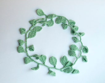 Leaves headband, natural style headband, handmade crochet, bride headdress, handmade wedding headband
