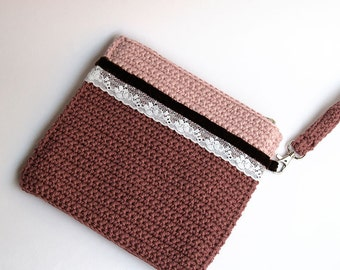 Bohemian evening purse, romantic handbag, feminine wristlet, pink handbag, marsala purse, brown bag, square wristlet, special clutch