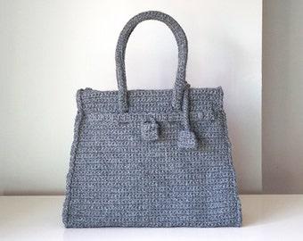 Gray crochet bag vintage style, handmade medium luxury purse, handmade bag, crochet bag, luxury purse, top handle crochet purse, special bag