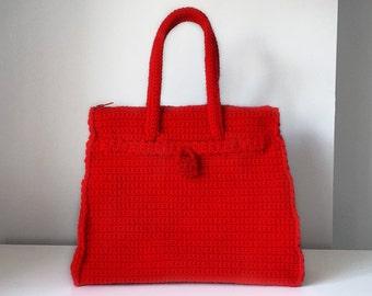 Red crochet bag, medium luxury purse, medium bag, luxury purse, medium handbag, crochet top handle bag, red medium purse, woman briefcase