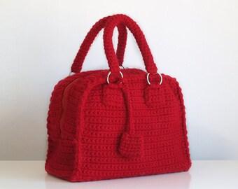 Red bowling bag, vintage style handbag, handmade crochet purse, crochet red purse, top handle bag, retro style, bowling bag, red bowling
