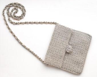 Gray medium messenger, crochet crossbody, vintage crochet messenger, silver medium purse, Chanel tribute, camellia purse, small messenger