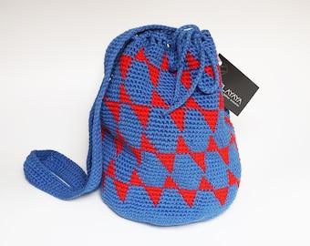 Blue and red bucket bag, geometric pattern purse, boho purse, blue bucket bag, crochet bucket bag, colourful purse, crochet medium bag