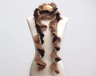 Brown crochet scarf, flounce scarf, romantic scarf, crochet scarf, ruffle scarf, natural shades scarf, chocolate, woman accessory, victorian