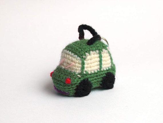 Groene Haak Auto Amigurumi Sleutelhanger Etsy