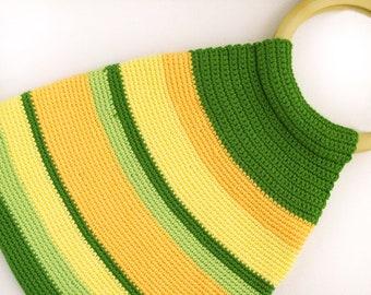 Summer purse, green handmade bag, round handles bag, casual bag, crochet purse, green stripes, spring crochet bag,  green and yellow