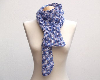 Blue purple white crochet scarf