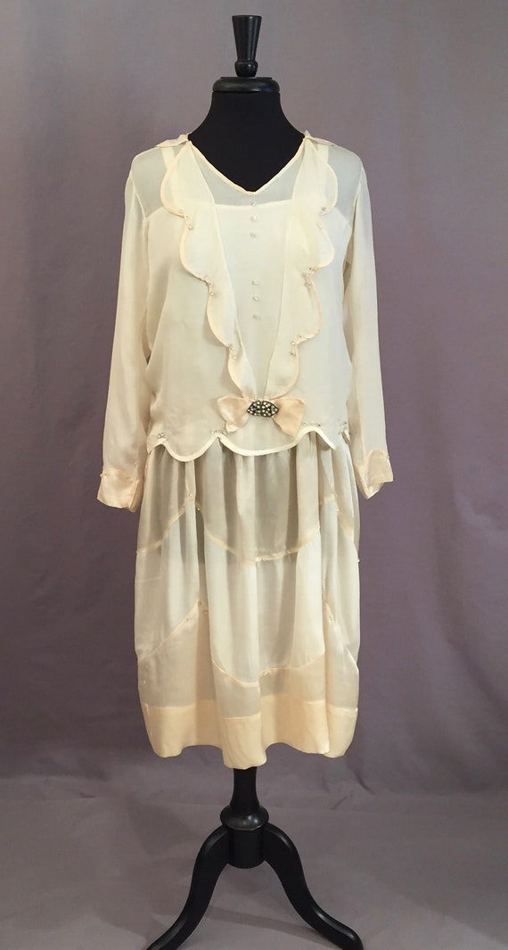 Silk Satin Crepe 1920s Two Piece Dress Rhinestone