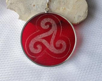 Red Spiral Celtic Triskelion Suncatcher