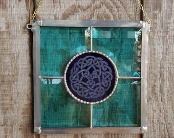 Teal and Cobalt Blue Celtic Suncatcher