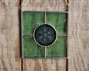 Green Stained Glass Celtic Panel