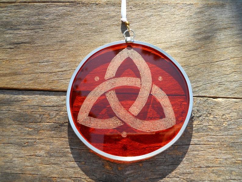 Orange Stained Glass Trinity Suncatcher