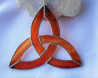 Burnt Orange Stained Glass Trinity Knot Suncatcher