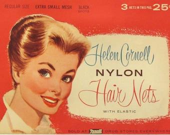 3 Vintage Helen Cornell Nylon Hair Nets with Elastic in Original Package