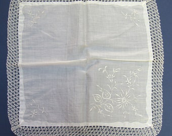 Vintage Border Crocheted and Embroidered Handkerchief