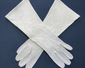 Vintage Style Gloves- Long, Wrist, Evening, Day, Leather, Lace Size 6 Floral Embroidered White 6 Button Length Cotton Gloves Wear Right $15.00 AT vintagedancer.com