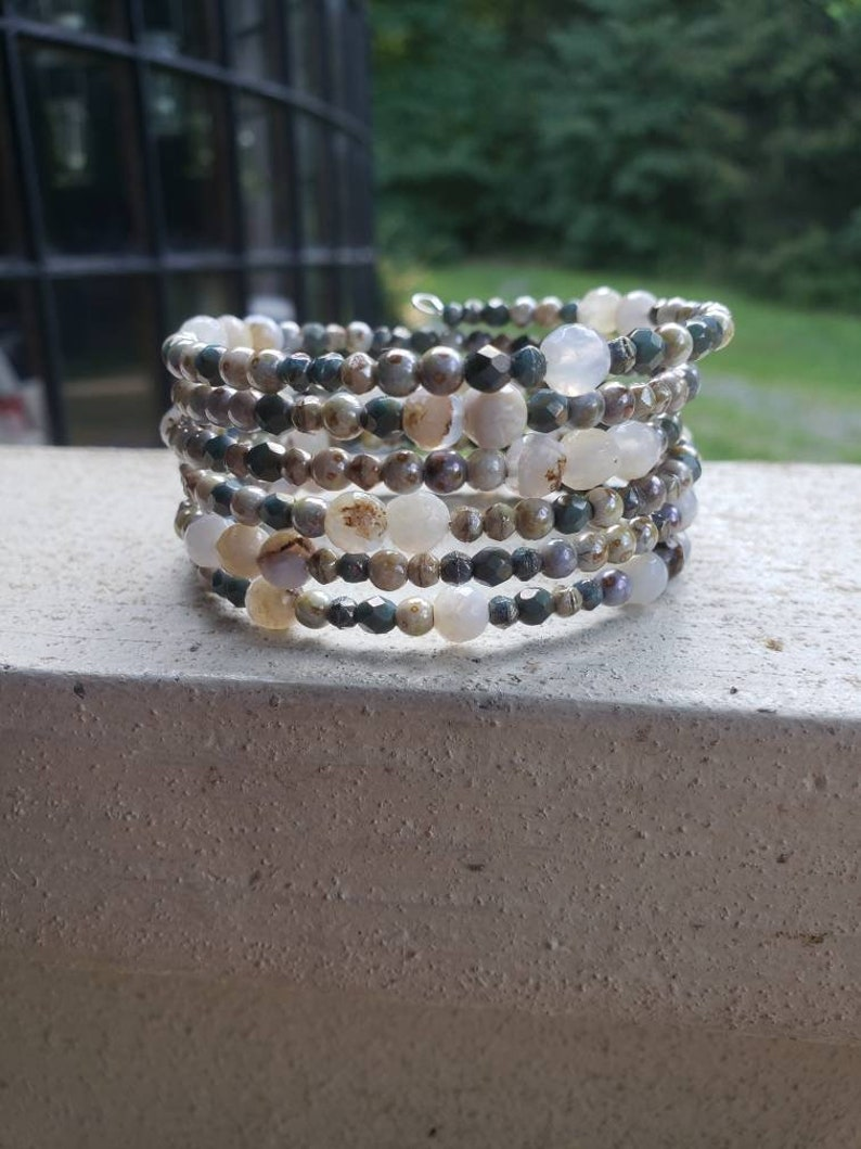 Soothing Memory Wire Beaded Bracelet gray one size green wraps 6x neutral colors agate czech glass