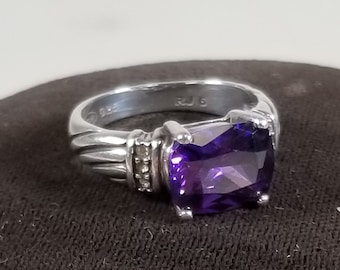 VIntage RJ Graziano 925 Sterling Silver Purple Amethyst AVON Ring Size 6.25