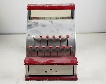 Vintage Mid Century Kamkar Tin Toy Cash Register Working Condition