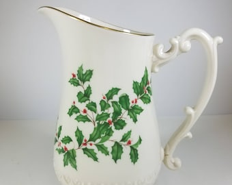 1974 Lenox Holiday Gold 32 Ounce Pitcher Fine China 24K Gold Hand Decorated